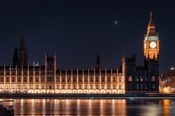 A photo of Big Ben and the houses of parliament in Westminster at night time